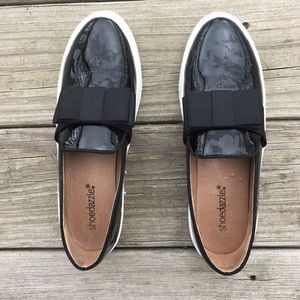 Shoes - Black slip on sneakers in patent black